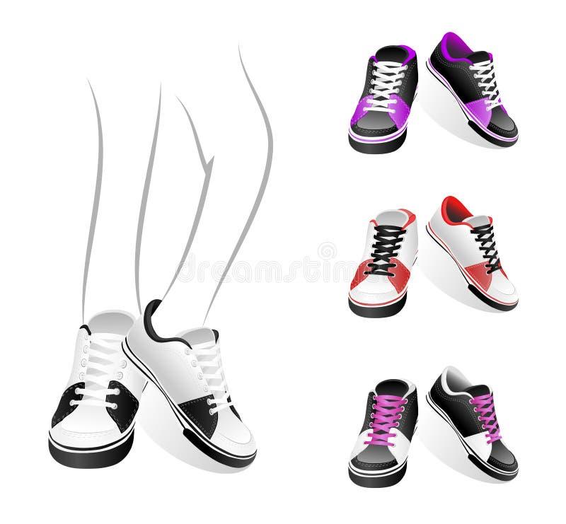 Conjunto de zapatillas de deporte stock de ilustración
