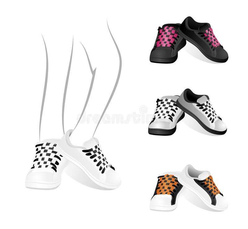 Conjunto de zapatos de gimnasia stock de ilustración