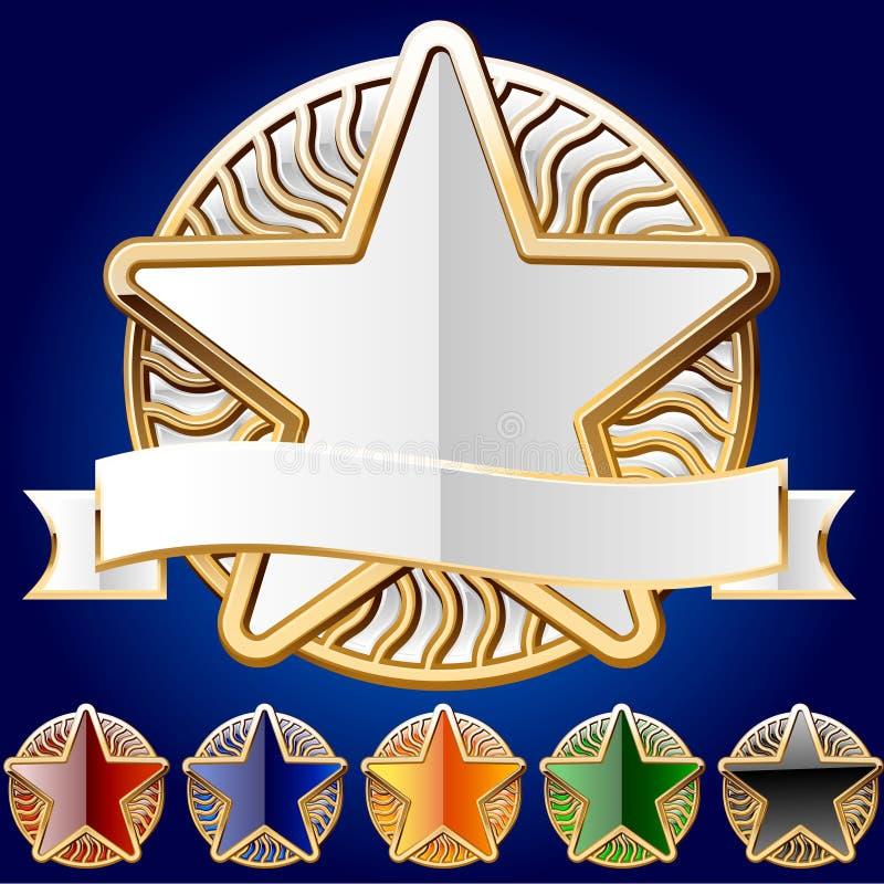 Conjunto decorativo de la estrella de oro y de diversos colores ilustración del vector