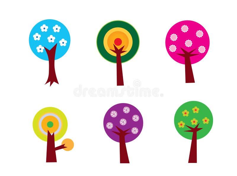 Conjunto del árbol de la flor stock de ilustración