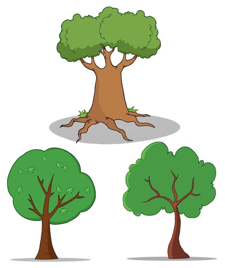 Conjunto del árbol de la historieta ilustración del vector