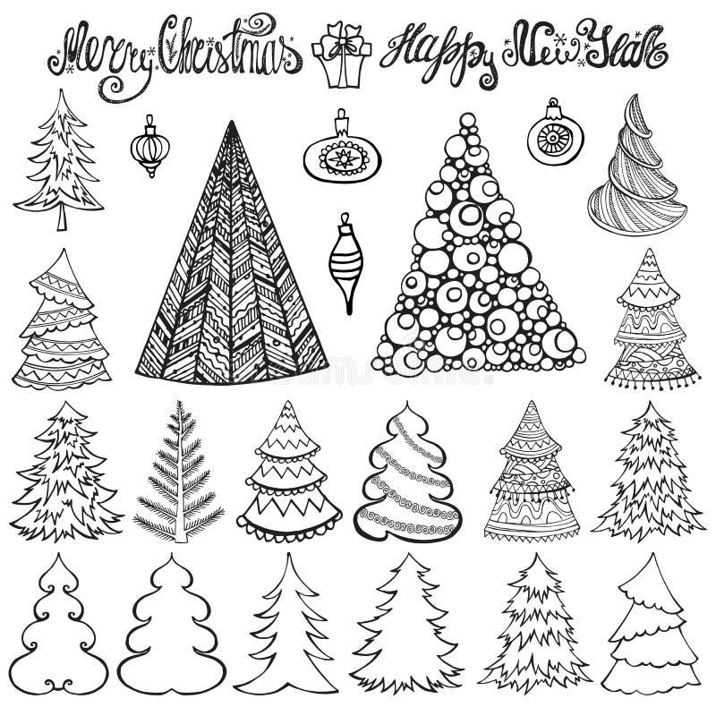 Conjunto del árbol de navidad Bolas, poniendo letras negro ilustración del vector