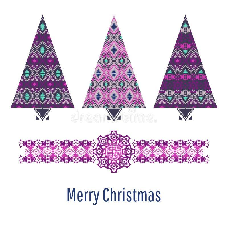 Conjunto del árbol de navidad Tarjeta de Navidad con los árboles ornamentales estilizados stock de ilustración