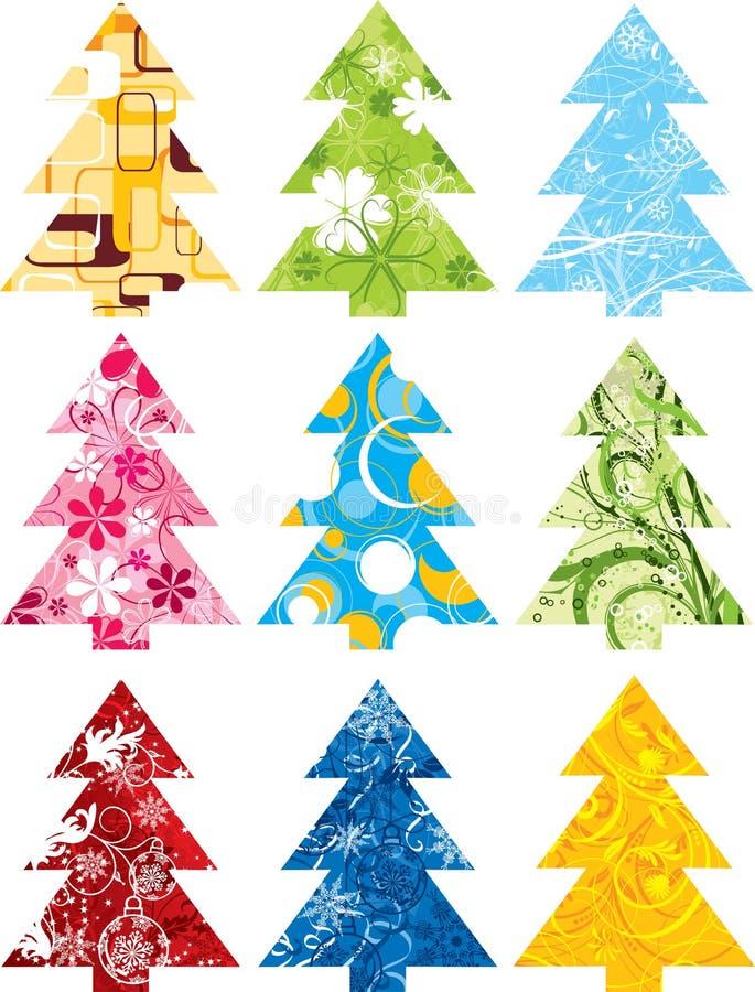 Conjunto del árbol de navidad, vector stock de ilustración
