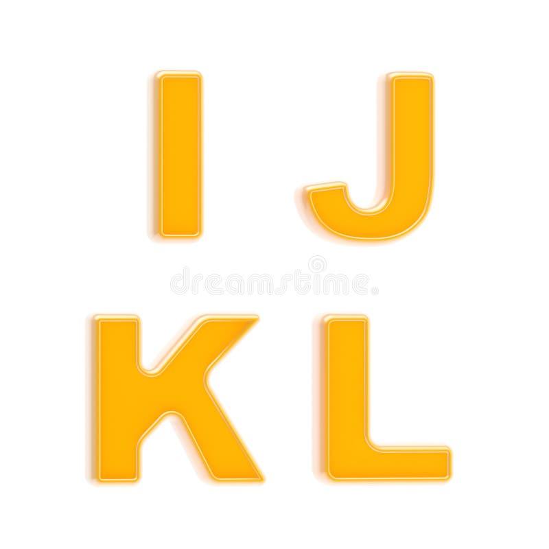 Conjunto del ABC de cuatro cartas plásticas anaranjadas brillantes ilustración del vector