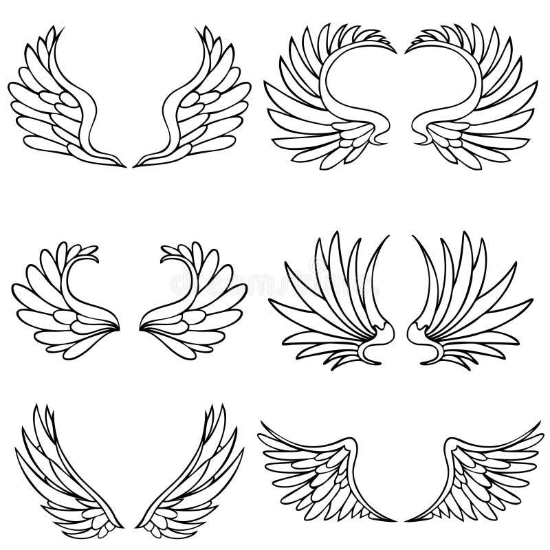 Conjunto del ala del ángel stock de ilustración