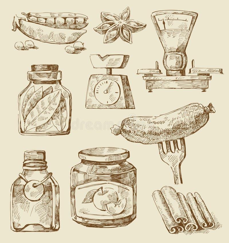 Conjunto del alimento stock de ilustración