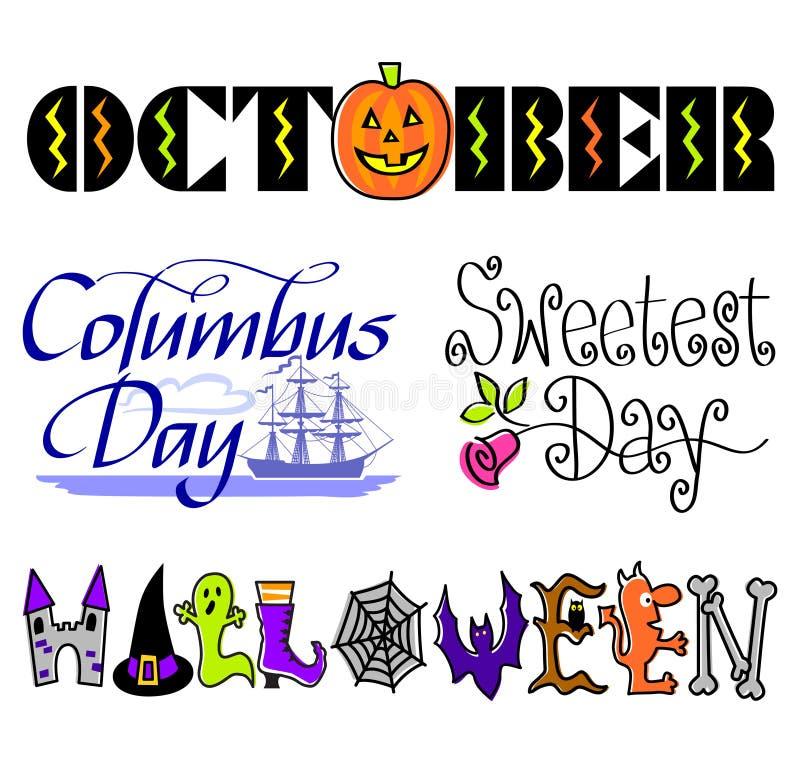 Conjunto del arte de clip de los acontecimientos de octubre libre illustration
