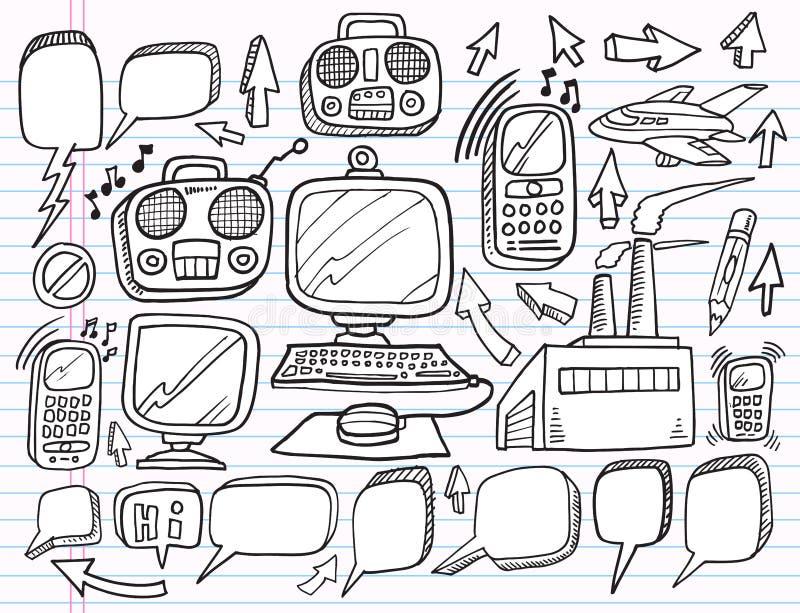 Conjunto del asunto del trabajo de la electrónica del Doodle ilustración del vector