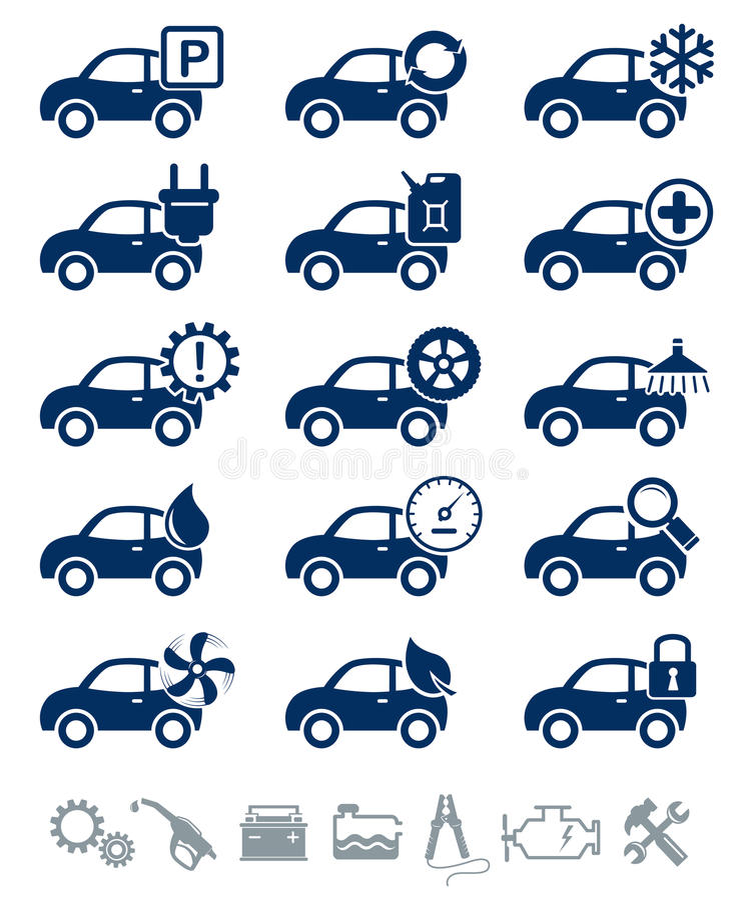 Conjunto del azul de los iconos del servicio del coche libre illustration