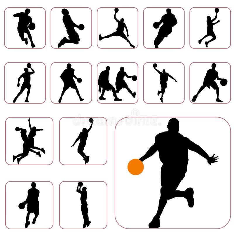 Conjunto del baloncesto ilustración del vector