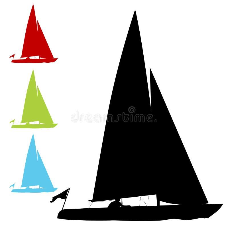 Conjunto del barco de vela ilustración del vector