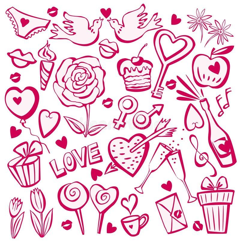 Conjunto del bosquejo del día de tarjeta del día de San Valentín ilustración del vector