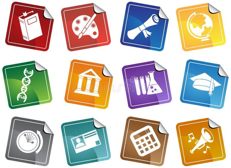 Conjunto del botón de la etiqueta engomada de la educación libre illustration