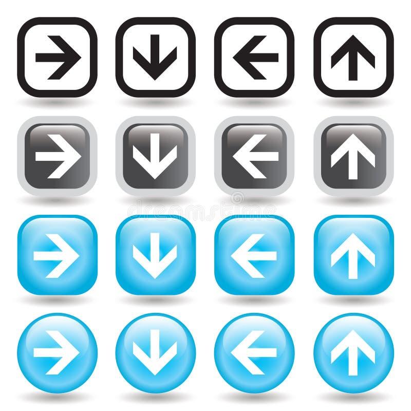 Conjunto del botón de la flecha ilustración del vector