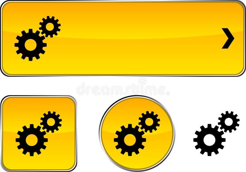 Conjunto del botón de las configuraciones. ilustración del vector