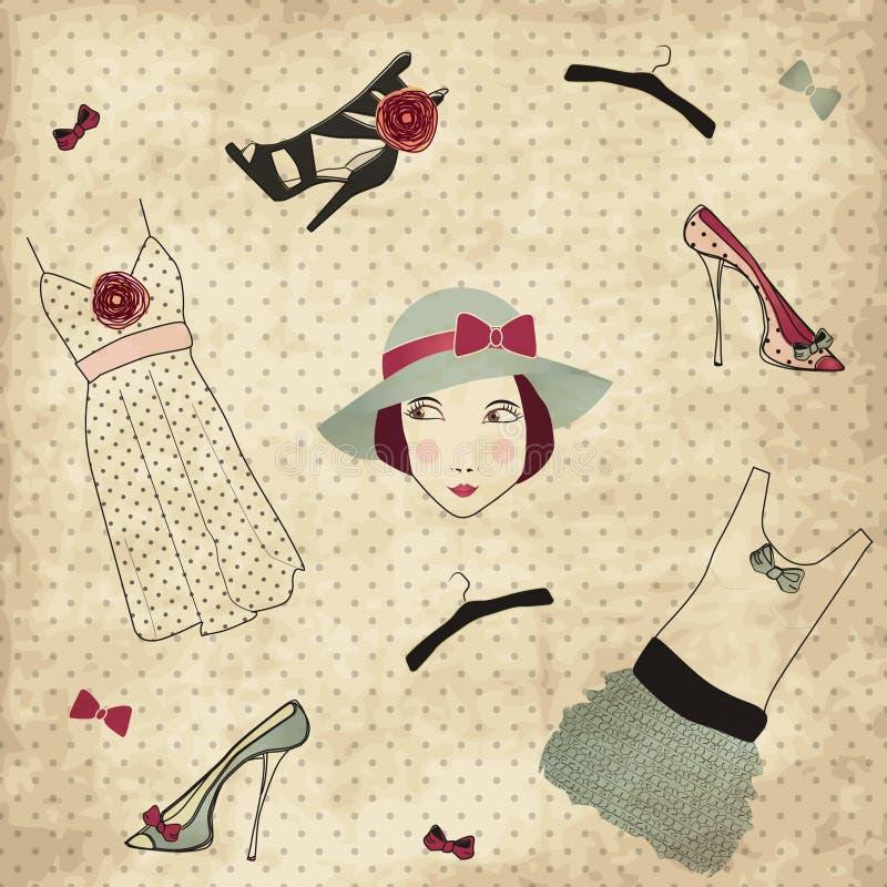 Conjunto del boutique de la manera de la vendimia libre illustration