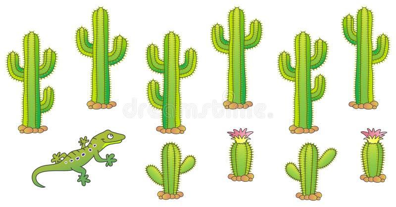 Conjunto del cactus del vector ilustración del vector