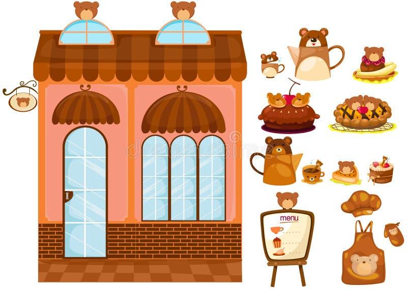 Conjunto del café del oso stock de ilustración