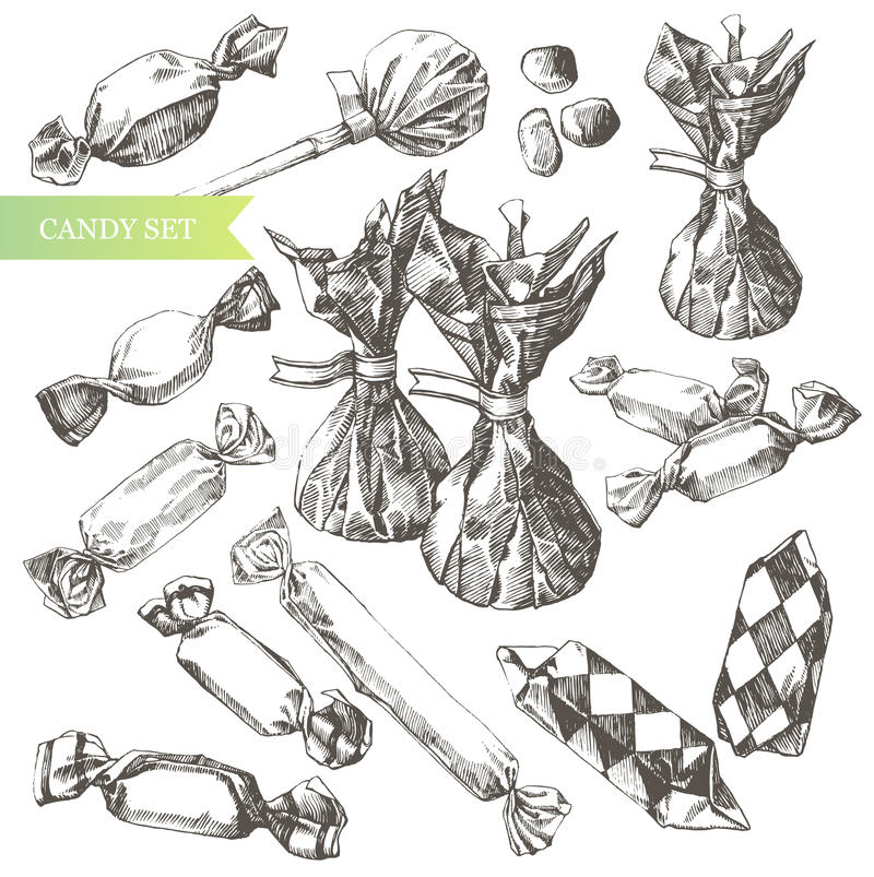 Conjunto del caramelo. ilustración del vector