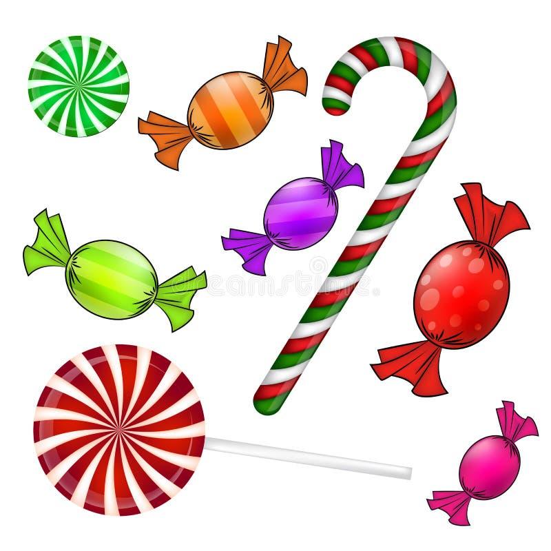 Conjunto del caramelo de la Navidad Dulce envuelto colorido, piruleta, bastón Ejemplo del vector en un fondo blanco stock de ilustración