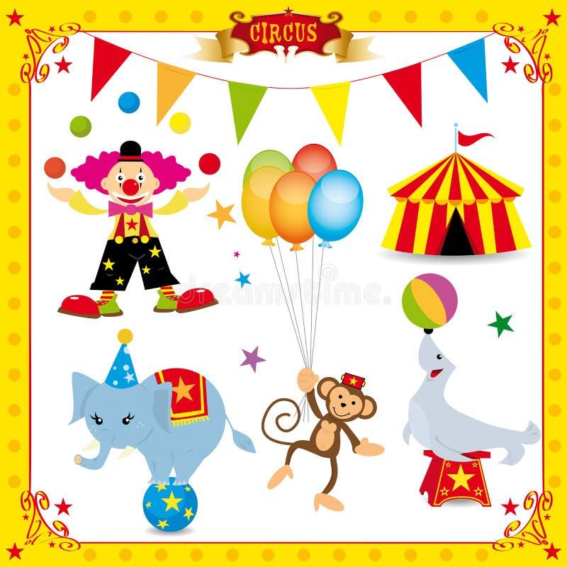Conjunto del circo de la diversión stock de ilustración