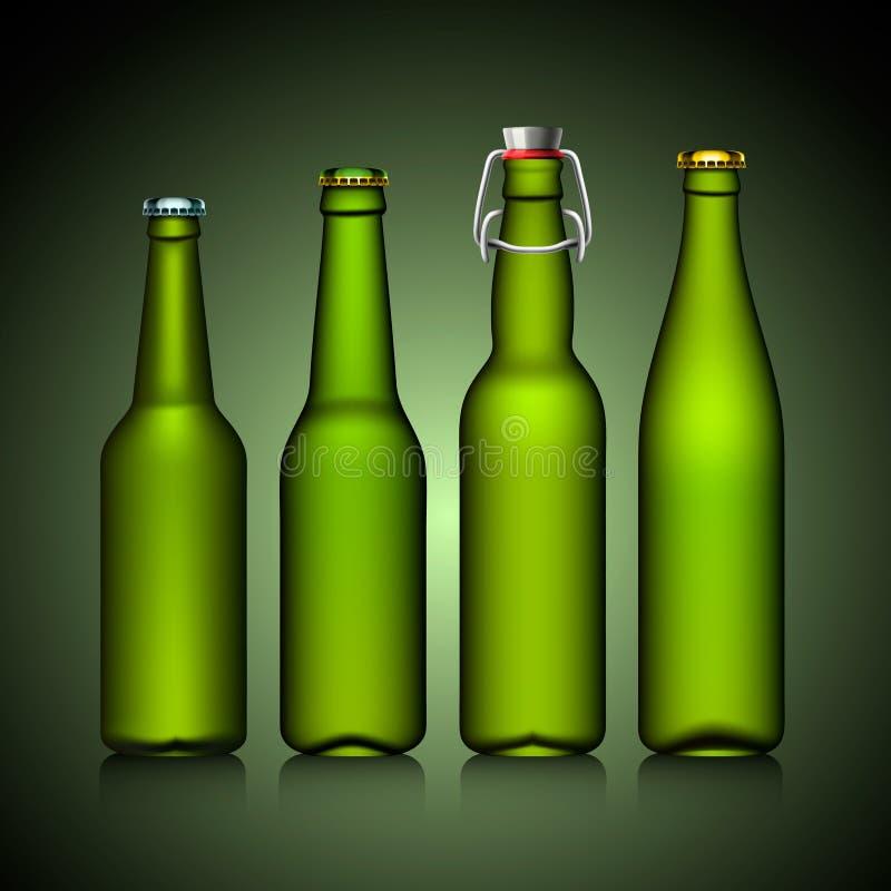 Conjunto del claro de la botella de cerveza sin el vidrio verde de la escritura de la etiqueta stock de ilustración