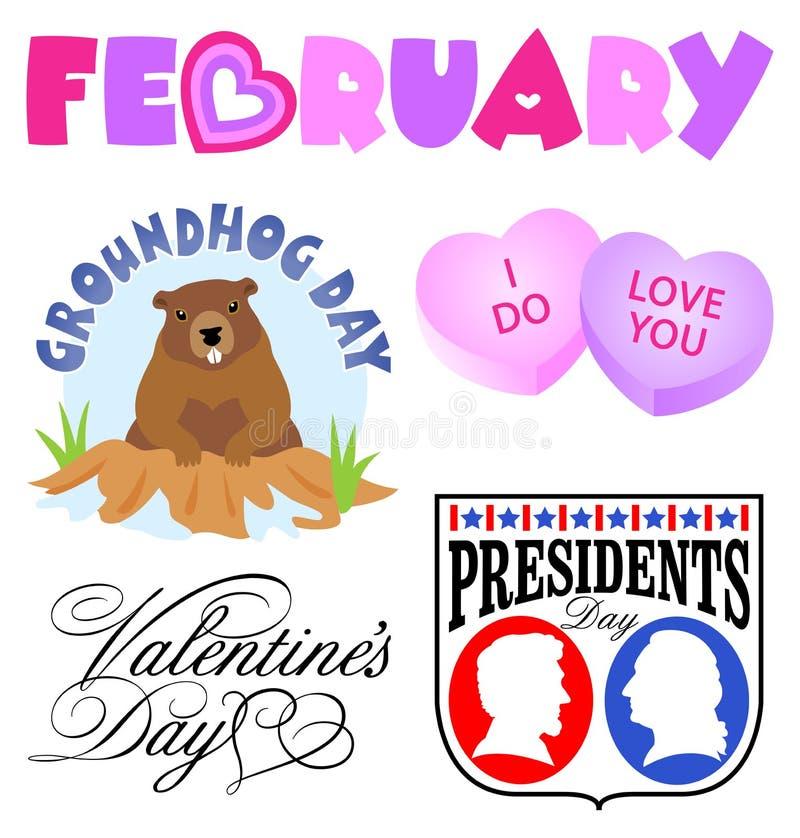Conjunto del clip art de los acontecimientos de febrero ilustración del vector