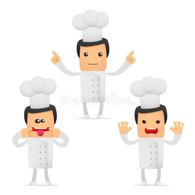 Conjunto del cocinero divertido de la historieta ilustración del vector