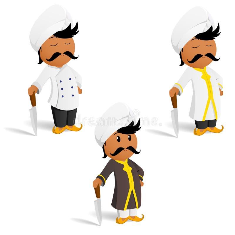 Conjunto del cocinero indio del cocinero de la historieta con el bigote ilustración del vector