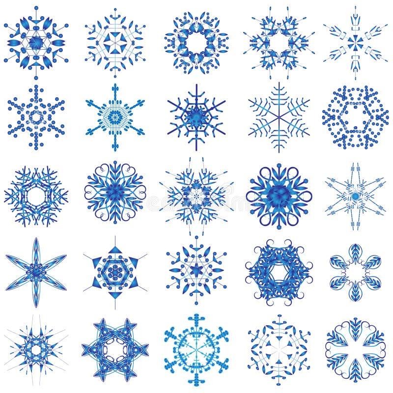 Conjunto del copo de nieve ilustración del vector
