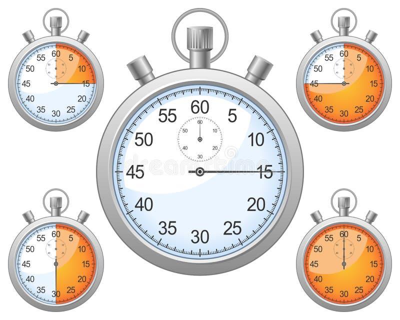 Conjunto del cronómetro ilustración del vector