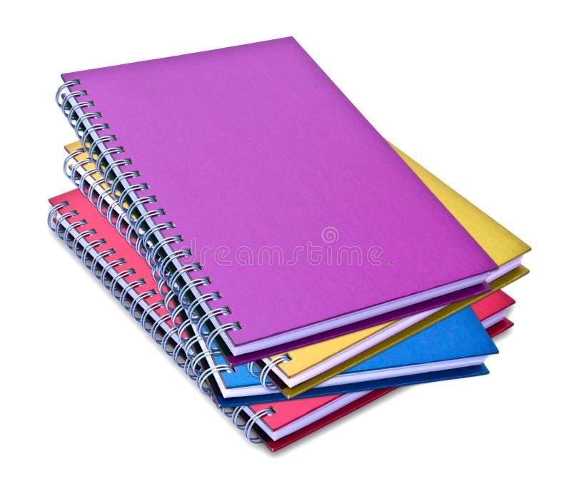 Conjunto del cuaderno del color aislado fotos de archivo
