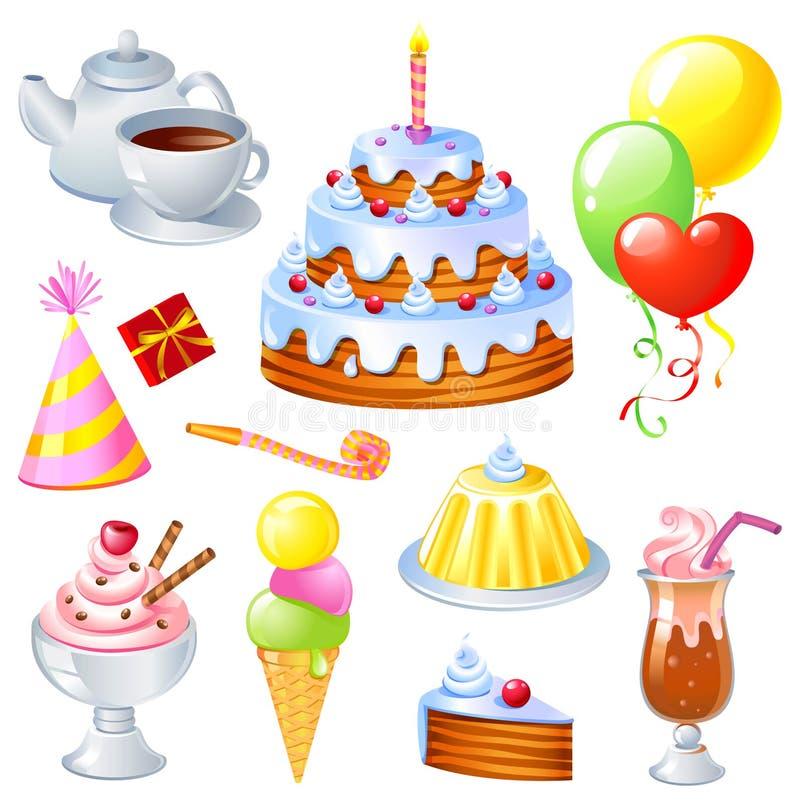 Conjunto del cumpleaños stock de ilustración