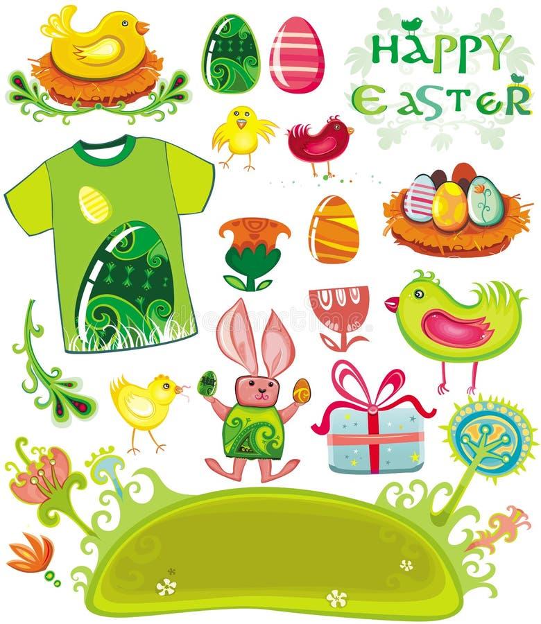 Conjunto del día de fiesta de Pascua stock de ilustración
