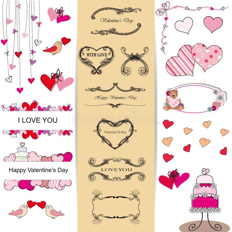 Conjunto del día de tarjetas del día de San Valentín ilustración del vector