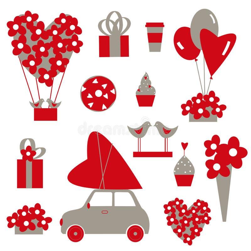 Conjunto del día del ` s de la tarjeta del día de San Valentín Ilustración del vector libre illustration