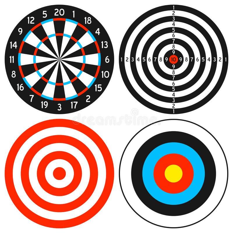 Conjunto del Dartboard y de la blanco stock de ilustración