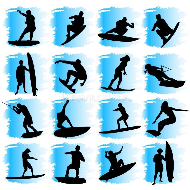 Conjunto del deporte de agua ilustración del vector
