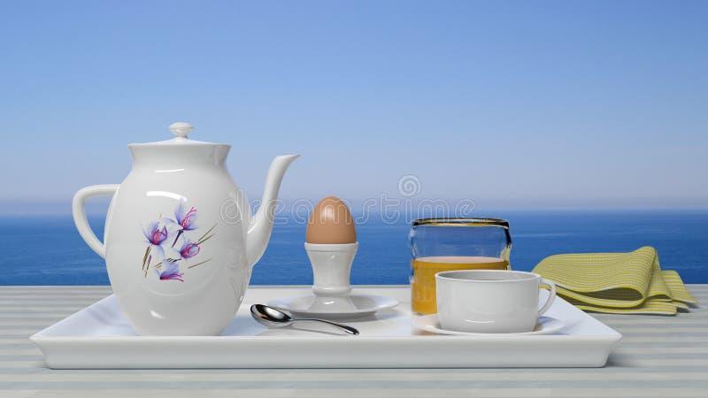 Conjunto del desayuno stock de ilustración