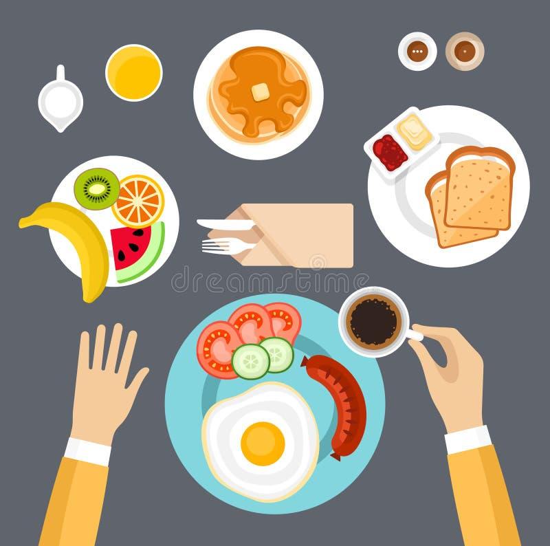 Conjunto del desayuno Visión superior ilustración del vector