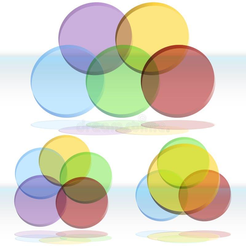 conjunto del diagrama de 3D Venn ilustración del vector