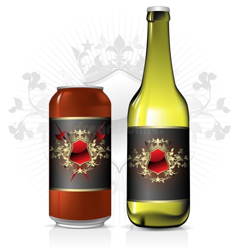 Conjunto del diseño de la cerveza stock de ilustración