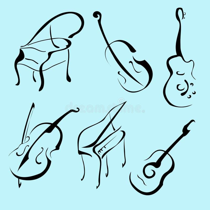 Conjunto del diseño de los instrumentos de música libre illustration