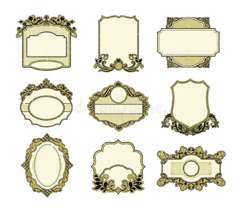 Conjunto del diseño de los marcos de la vendimia stock de ilustración
