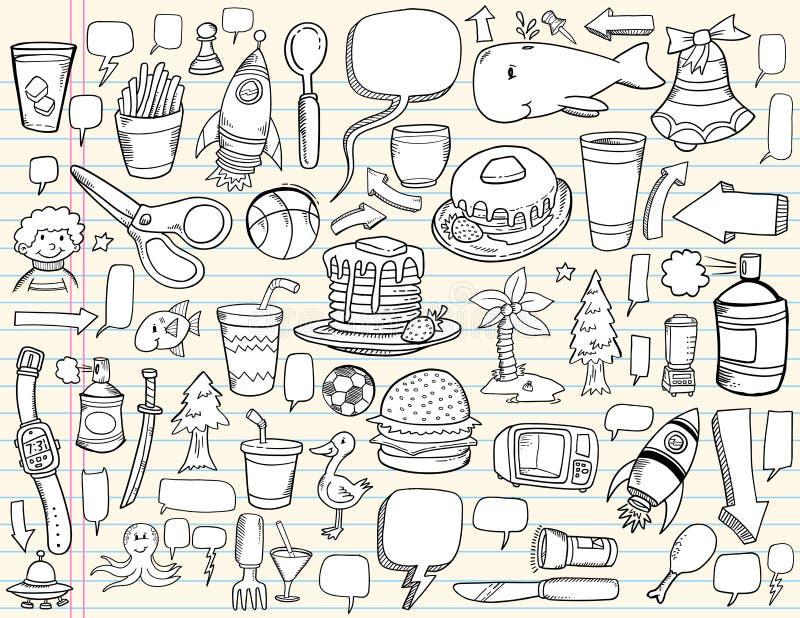 Conjunto del diseño del Doodle del cuaderno stock de ilustración