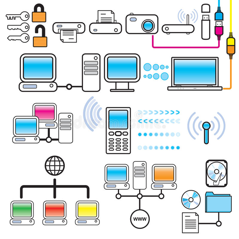 Conjunto del diseño del establecimiento de una red, de la conectividad y de la tecnología ilustración del vector