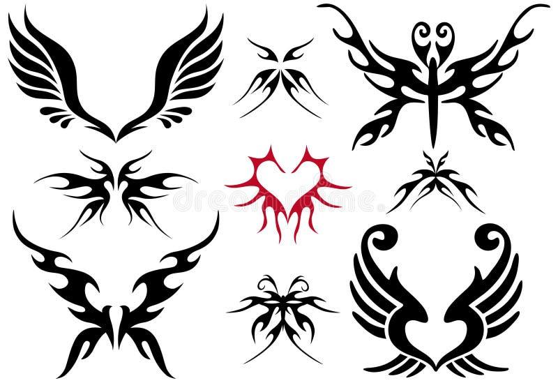 Conjunto del diseño del tatuaje ilustración del vector