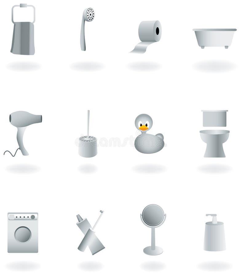 Conjunto del equipo del cuarto de baño,   ilustración del vector
