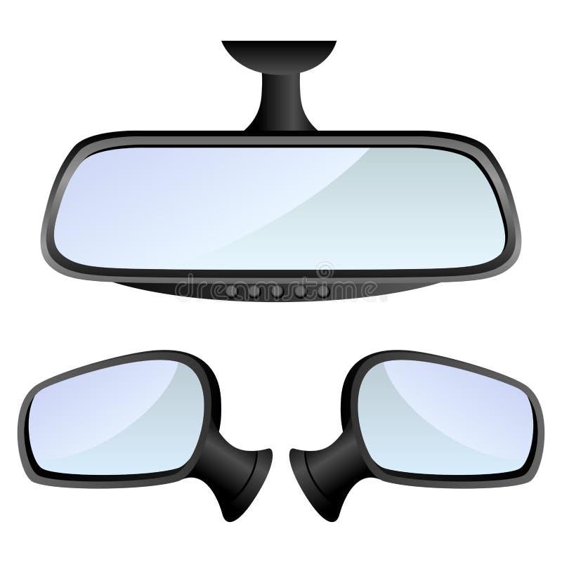 Conjunto del espejo de coche stock de ilustración